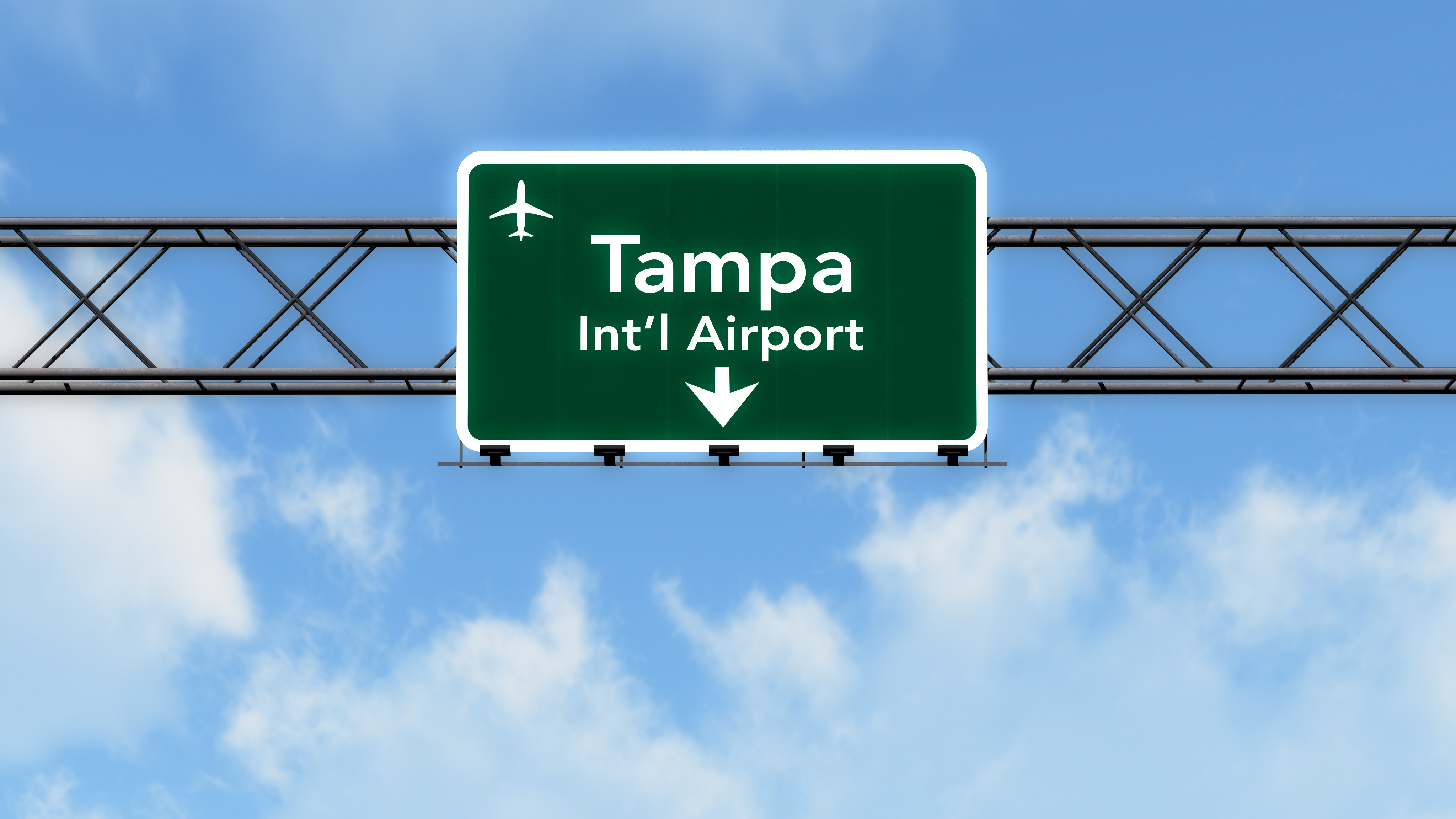 directions to Tampa airport on a sign